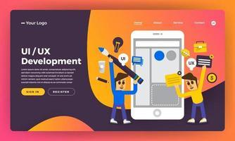 mock-up ontwerp website plat ontwerpconcept ux ui-ontwikkeling. vector illustratie.