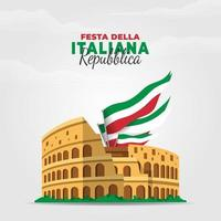Italiaanse republiek dag poster vector