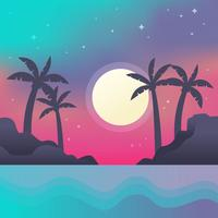 Nacht tijd strand Vector
