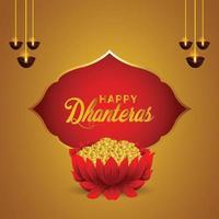 gelukkige dhanteras indian festival viering wenskaart met gouden munten pot vector