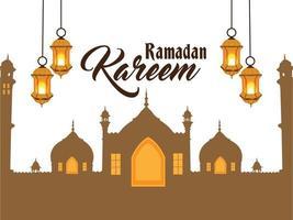 ramadan kareem achtergrond met gouden lantaarn vector