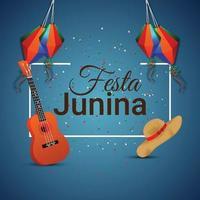 festa junina uitnodigingskaarten met gitaar en hoed vector