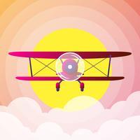 Retro Tweedekker Vliegtuig Vector Illusration