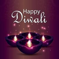 gelukkige diwali indiase festival wenskaart met diwali diya vector