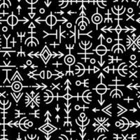 etnisch Noors IJslands naadloos patroon. runentalismannen van de Vikingen en noordelijke volkeren. magische en magische runen. heidens teken vector