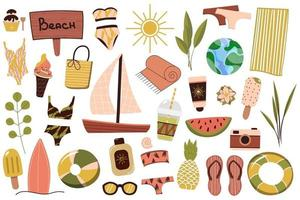 een set zomerse dingen voor op het strand. reis naar een zonnig land. zomerrust. vector illustratie.