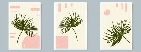 botanische muur kunst vector poster zomer set. minimalistische tropische plant met geometrische vorm en achtergrondstructuur
