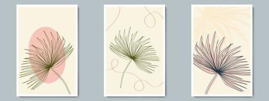 botanische muur kunst vector overzicht poster set. minimalistisch blad met abstracte eenvoudige vorm en lijnpatroon