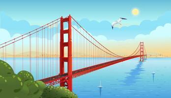 golden gate bridge over de zeestraat. San Francisco. vector illustratie