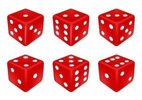 set van een rode dobbelstenen drie dimensies vector