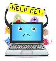 laptop heeft hulp nodig van een viruscomputer vector
