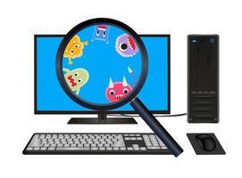 vergroot glas gevonden virus op desktopcomputer vector