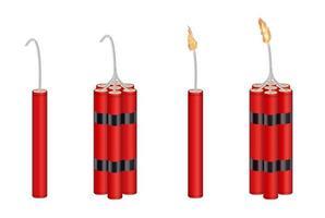 echt 3d dynamiet en dynamietpakket met brandend vuur vector