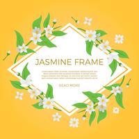 Platte jasmijn bloem achtergrond sjabloon Vector