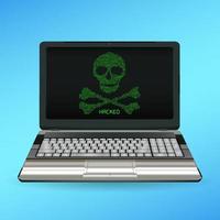 schedel en botten gevaar pictogram op desktop vector