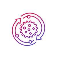 virus pictogram met pijlen, lijn vector