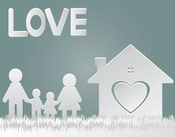 papier gesneden vector. gelukkige familie thuis pappa en mamma staande handbewegingen met jongen en meisje. het huis met het hart met liefde. vector