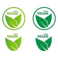 veganistisch pictogram bio ecologie biologisch, logo's label label groen blad vector