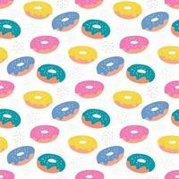 kleurrijke suiker donuts met suikerglazuur op een witte achtergrond. vector naadloze patroon in vlakke stijl
