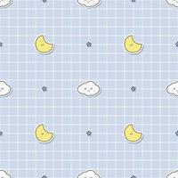 schattige wolk en maan op raster achtergrond cartoon doodle naadloze patroon vector