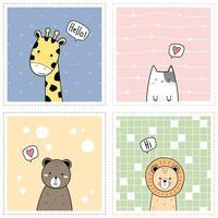schattige dieren giraffe kat beer en leeuw cartoon doodle kaartcollectie groet vector