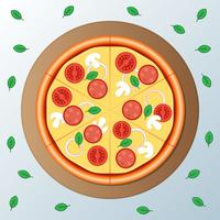 Pizzapepperoni met Plakillustratie vector