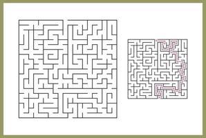 doolhof voor kinderen. abstract vierkant doolhof. vind het pad naar het geschenk. spel voor kinderen. puzzel voor kinderen. labyrint raadsel. platte vectorillustratie geïsoleerd op een witte achtergrond. met antwoordvrije vector
