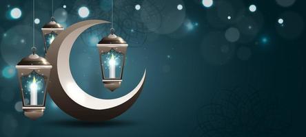 eid mubarak lantaarn achtergrond vector