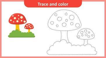 trace en kleur paddestoel vector