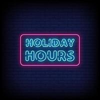 vakantie-uren neonreclames stijl tekst vector