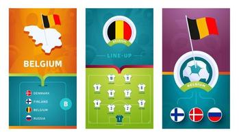 Belgisch team europees voetbal verticale banner ingesteld voor sociale media vector