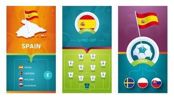 spanje team europees voetbal verticale banner ingesteld voor sociale media vector
