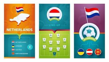 nederland team europees voetbal verticale banner ingesteld voor sociale media vector