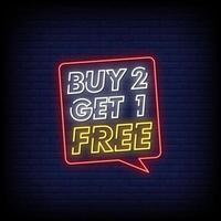 koop 2 en krijg 1 gratis tekstvector in neonreclamestijl vector