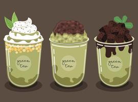 groene thee smoothie set garneer met brownies en chocoladesaus, japanse rode bonen gezicht en heerlijke slagroom. vector