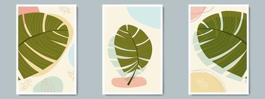 botanische muur kunst vector poster lente, zomer set. minimalistische tropische plant met abstracte vorm en lijnpatroon