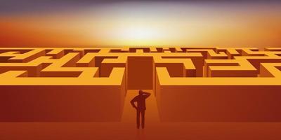 een man moet de weg uit een labyrint vinden. vector