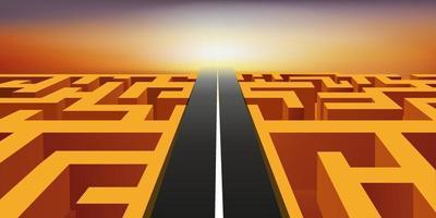 een weg kruist een obstakel door een labyrint over te steken. vector