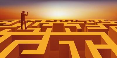 een man gebruikt een verrekijker om uit een labyrint te komen. vector