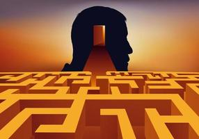 een labyrint dat de complexiteit van een psychoanalyse symboliseert vector