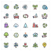 milieu lijn met gekleurde pictogrammen. vectorillustratie op witte achtergrond. vector