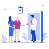online medische dienstverleningsconcept. mannelijke arts advies geven aan oudere patiënt via mobiele applicatie op smartphone. platte karakter vectorillustratie. vector