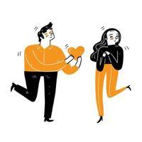 een jonge man geeft een groot hart aan een jonge vrouw vector