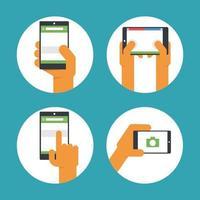 smartphone gebruik stijlenset van pictogrammen vector
