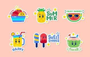 schattige stickerset voor zomervoedsel vector