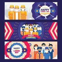 gelukkige dag van de arbeid banner collectie vector
