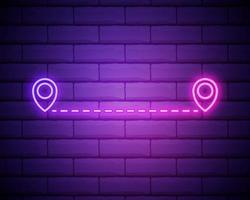 gloeiende neon route locatiepictogram geïsoleerd op bakstenen muur achtergrond. kaart aanwijzer teken. concept van pad of weg. gps-navigator. vector