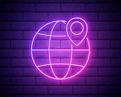 pin op het wereldbol neon icoon. elementen van de navigatieset. eenvoudig pictogram voor websites, webdesign, mobiele app, infographics geïsoleerd op een bakstenen muur vector
