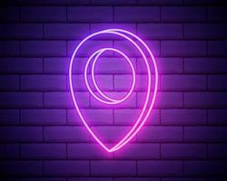 pin neon stijlicoon. eenvoudige dunne lijn, overzichtsvector van webpictogrammen voor ui en ux, website of mobiele applicatie geïsoleerd op bakstenen muur vector