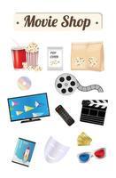 film winkel houten bord met pop corn film cd-schijf dvd film doos smart televisie film afstandsbediening ticket emotie masker 3d bril vector